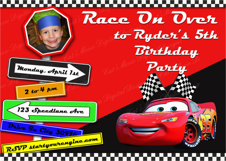 pixar cars printable birthday invitation personalized cars