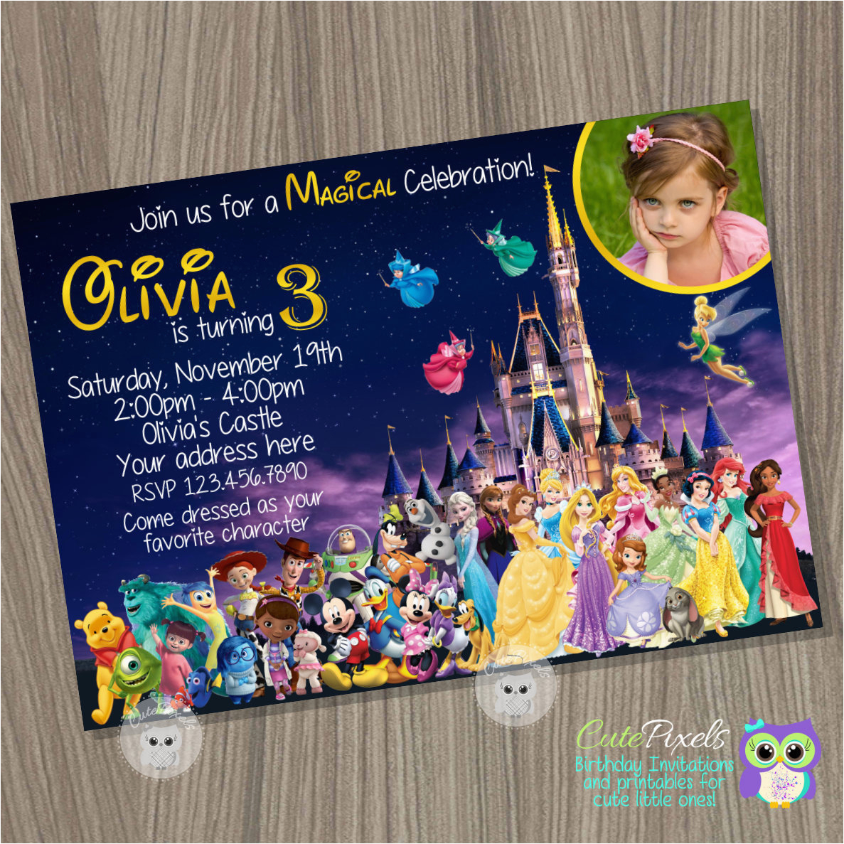disney castle invitation disney
