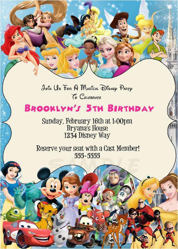 Disney Character Birthday Invitations Disney Characters Birthday Party Custom by
