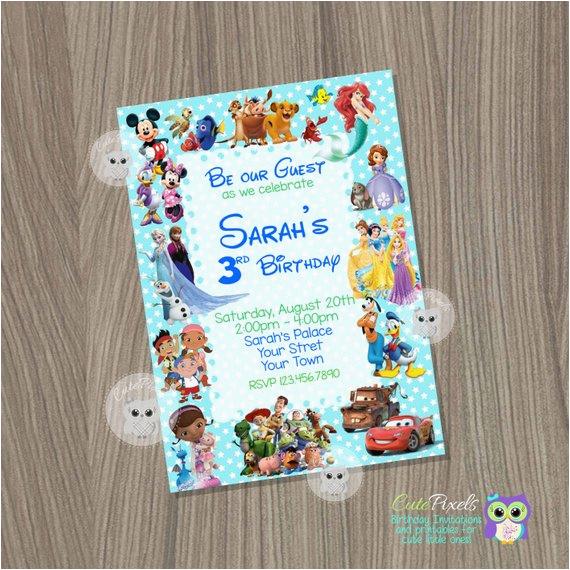 Disney Character Birthday Invitations Disney Invitation Boy or Girl Invitationdisney Characters