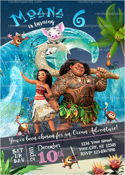 disney moana party invitation ocean maui birthday invite