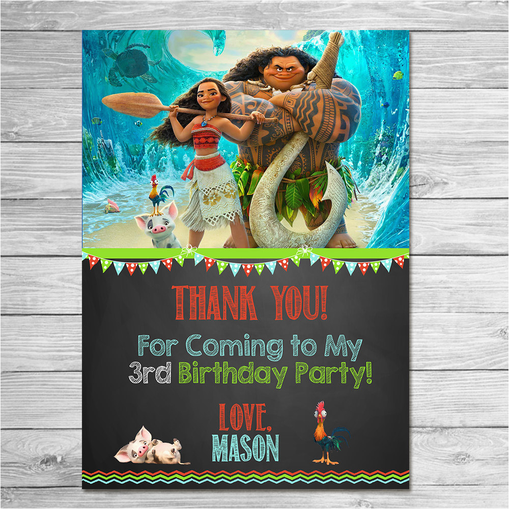 disney moana thank you card chalkboard moana maui birthday