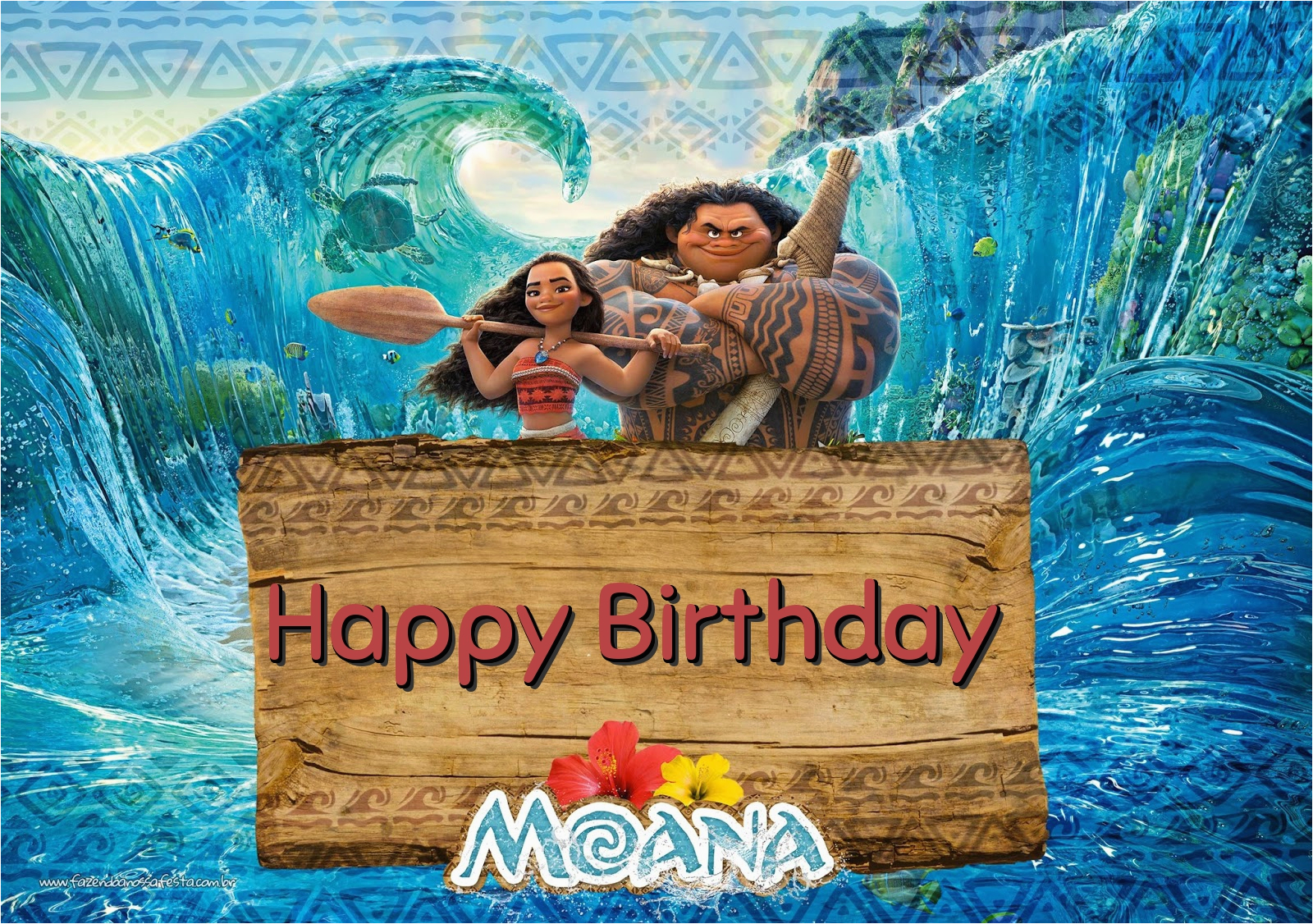 free moana birthday greeting cards