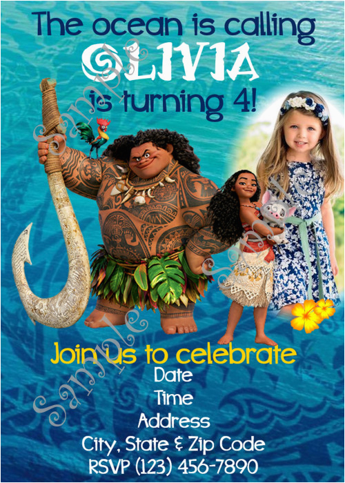 moana invitation disney moana birthday party invitation