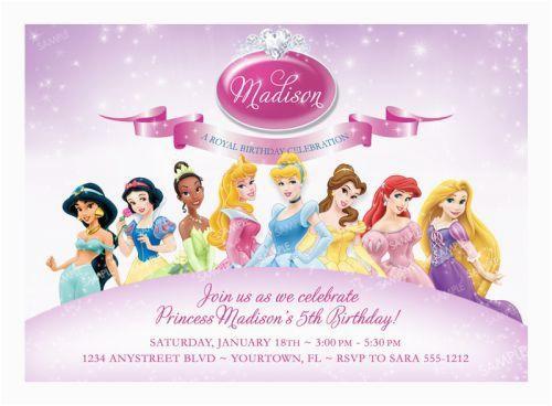disney princess birthday invitation samples