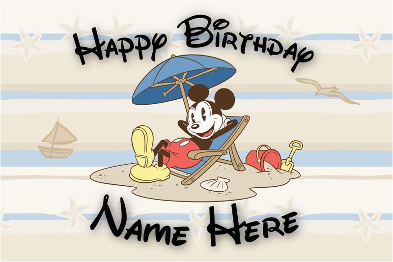 Disney Themed Birthday Cards Free Custom Card Mickey Mouse Beach