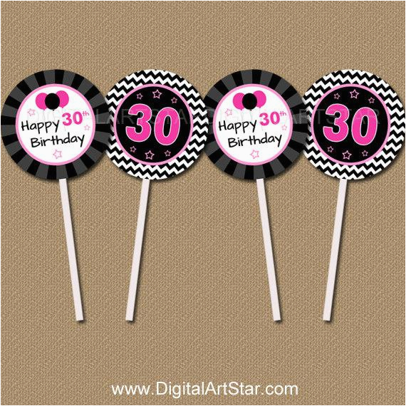 Diy 30th Birthday Decorations Cupcake Toppers Printable Bday Party