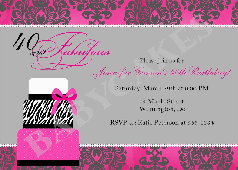 40th birthday invitation or any age diy