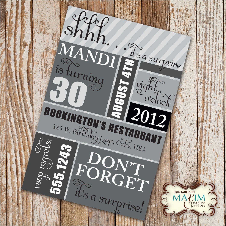 diy printable invitation surprise