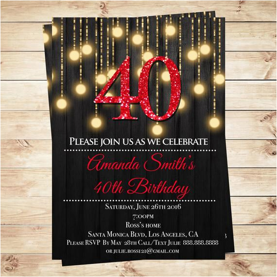 Diy 40th Birthday Invitations Editable Elegant Party Pdf