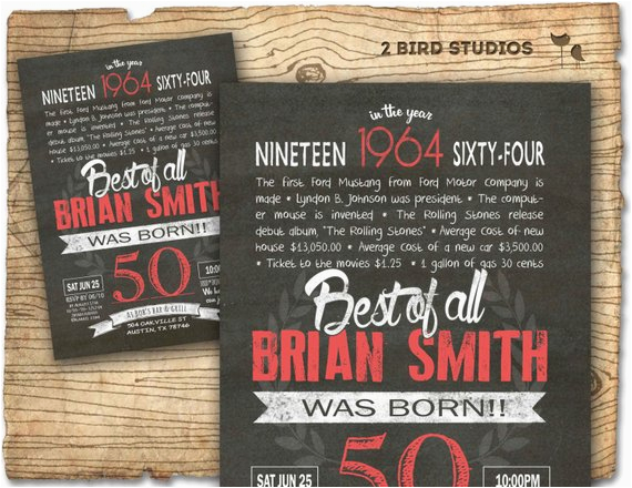 Diy 50th Birthday Invitations Invitation Surprise Invite
