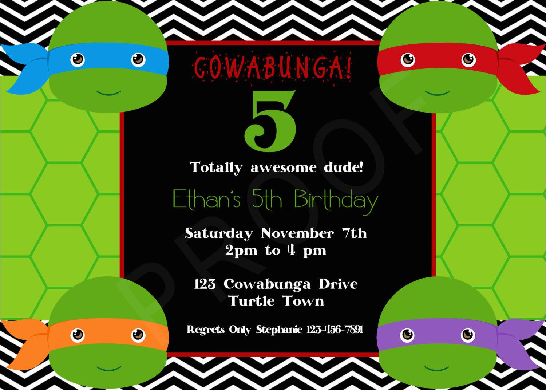 free printable ninja turtle birthday invitations