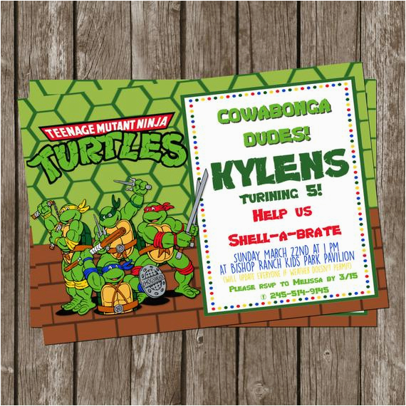 graphic about Ninja Turtle Birthday Invitations Printable referred to as Do-it-yourself Ninja Turtle Birthday Invites Ninja Turtle 5×7 Do it yourself