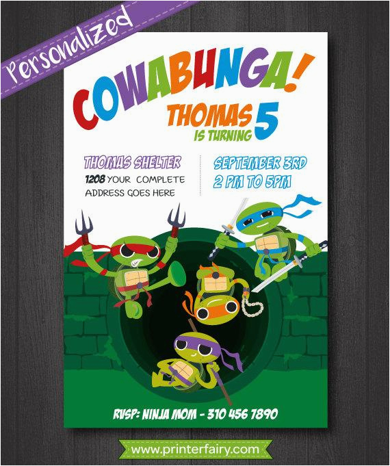 Diy Ninja Turtle Birthday Invitations Tmnt Invitation Teenage Mutant Turtles