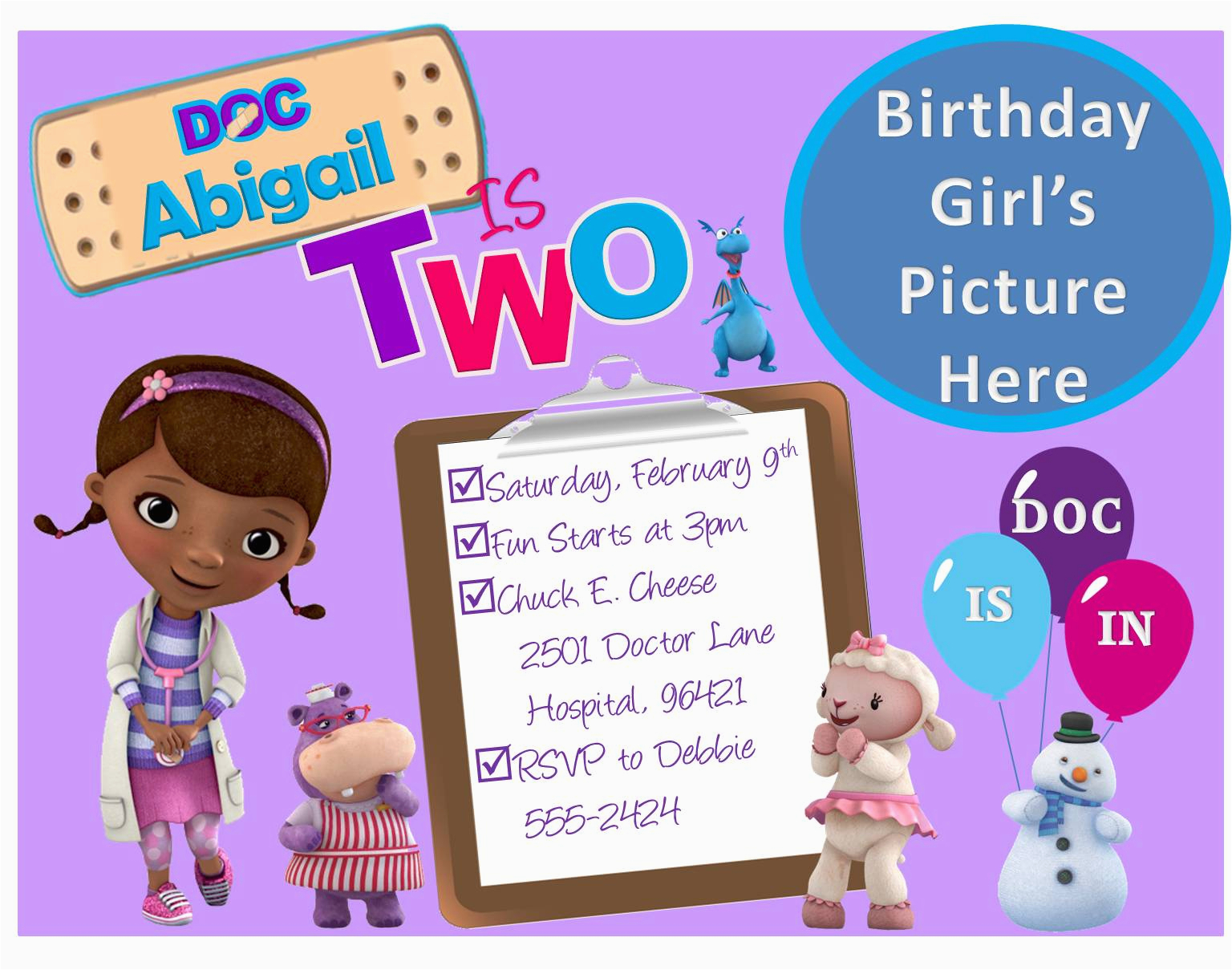 Doc Mcstuffin Birthday Invitations Create Mcstuffins Free