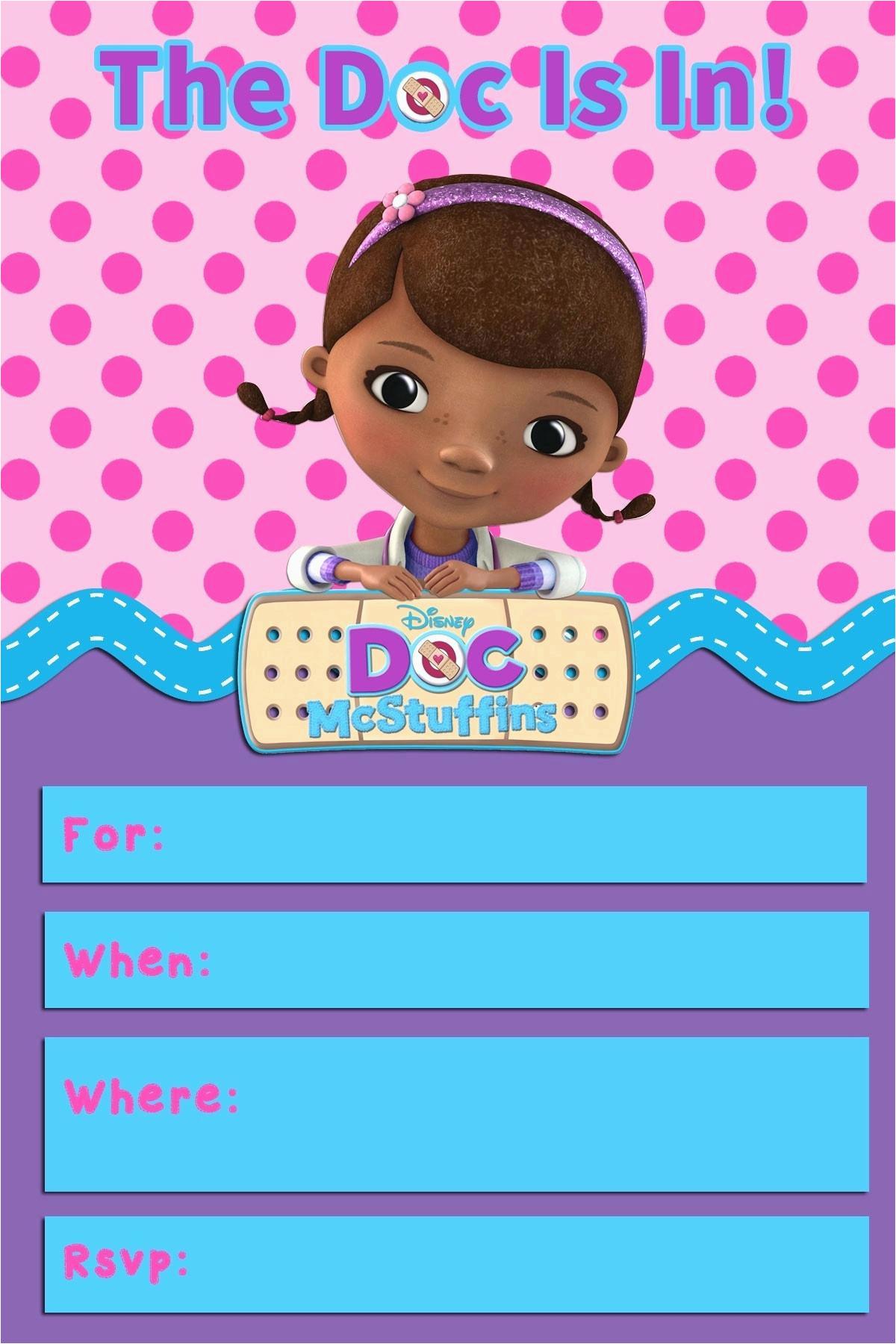 Doc Mcstuffins Birthday Card Invitation Template