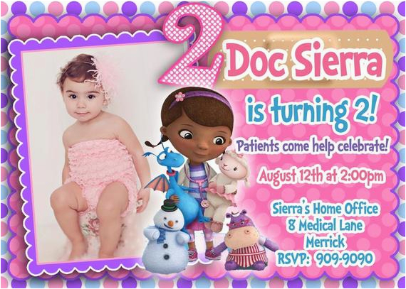 Doc Mcstuffins Printable Birthday Invitations Custom Photo Invitation