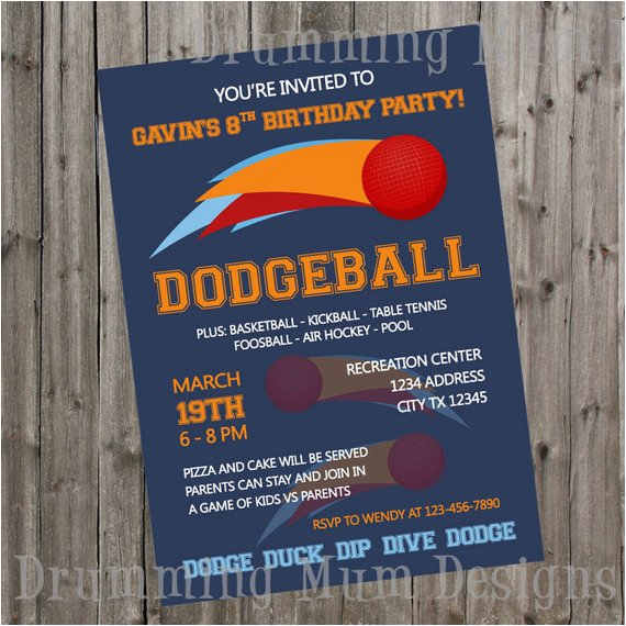 dodgeball birthday invitation thank you