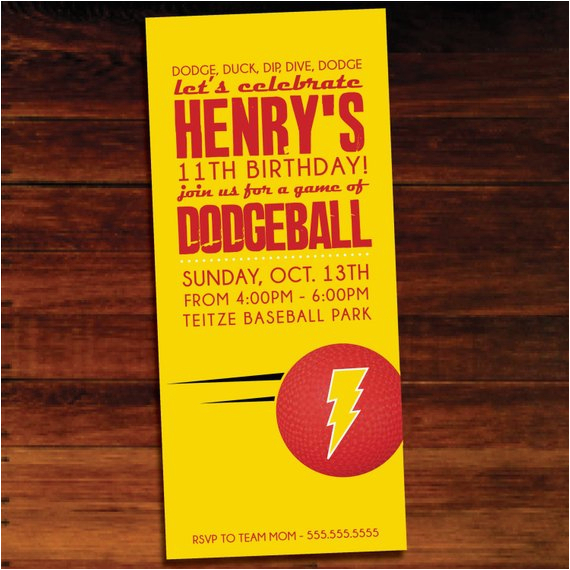 dodgeball invitations set of 12