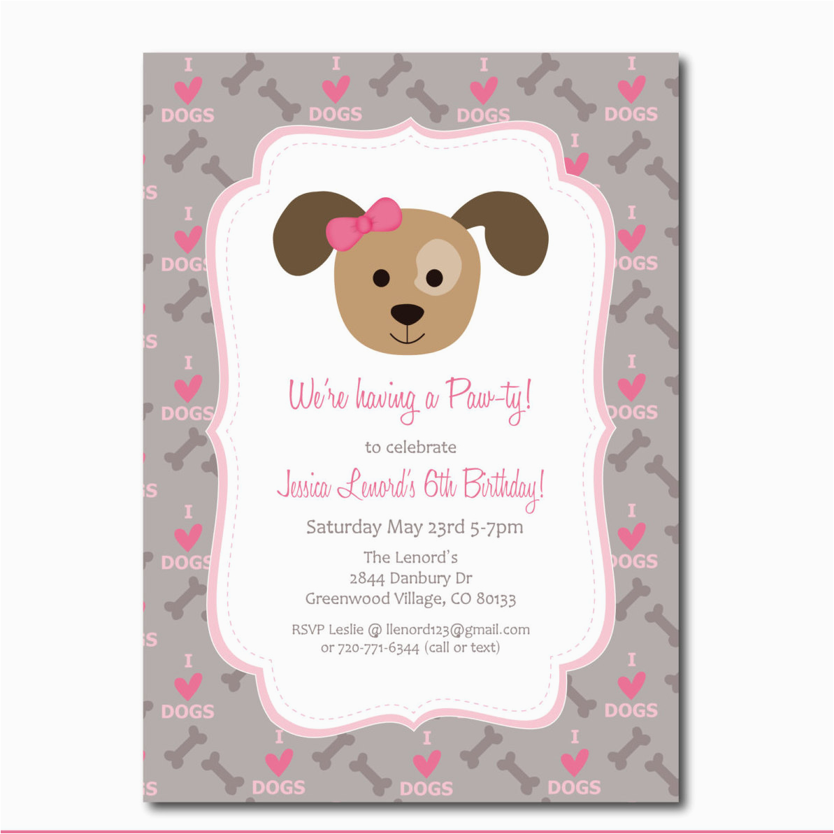 Dog Birthday Party Invitation Templates