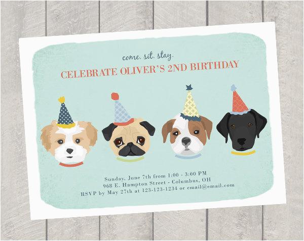 Dog Theme Birthday Invitation Childrens
