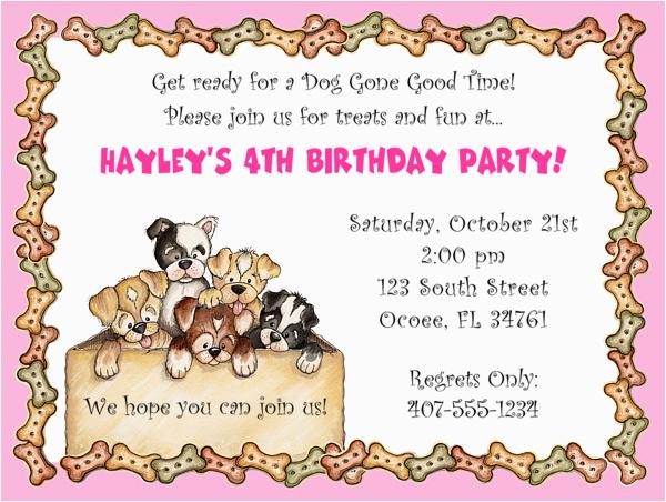 Dog Themed Birthday Invitations Party Drevio