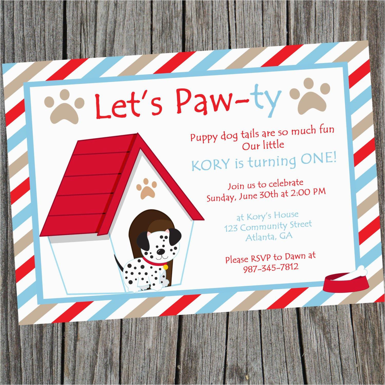 Dog Themed Birthday Invitations Puppy Party Invitation Printable