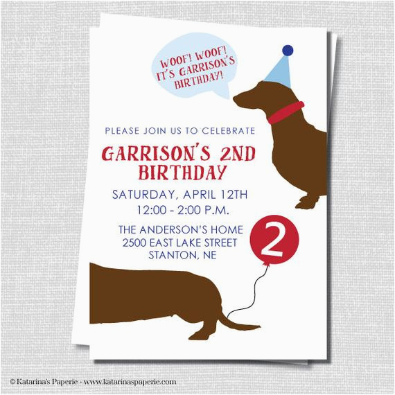 Dog Themed Birthday Invitations Puppy Party Invitation Boy By Katarinaspaperie