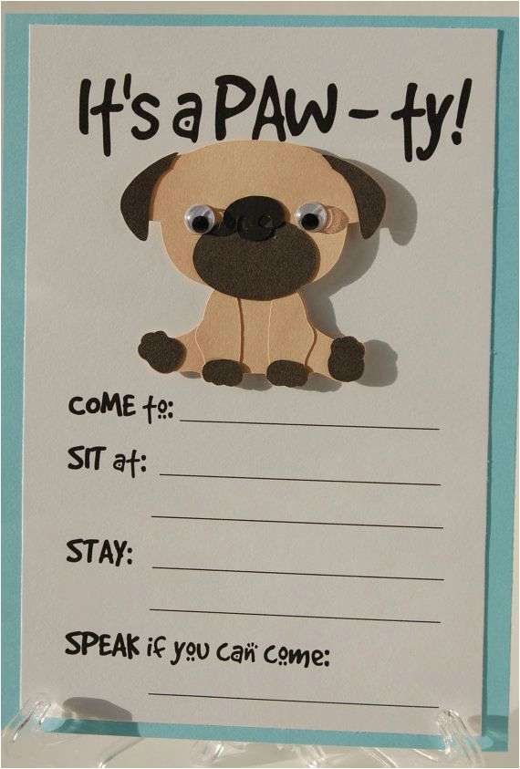 Dog Themed Birthday Party Invitations Pug Invitation Puppy Invites