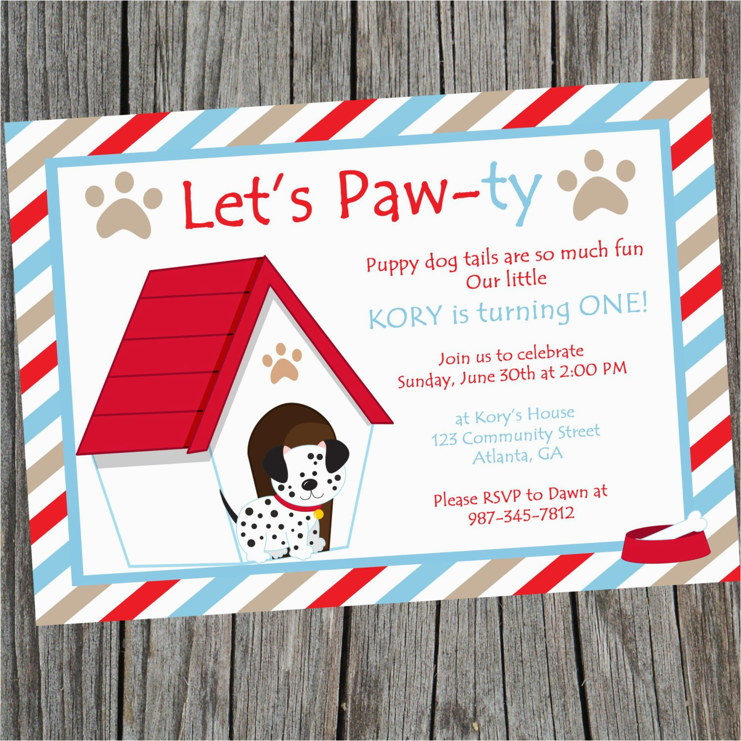 Dog Themed Birthday Party Invitations Puppy Invitation Printable