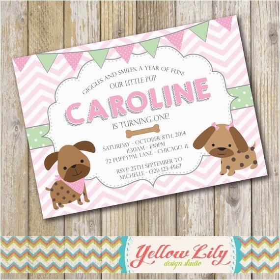 puppy dog themed birthday party invitation girl puppy