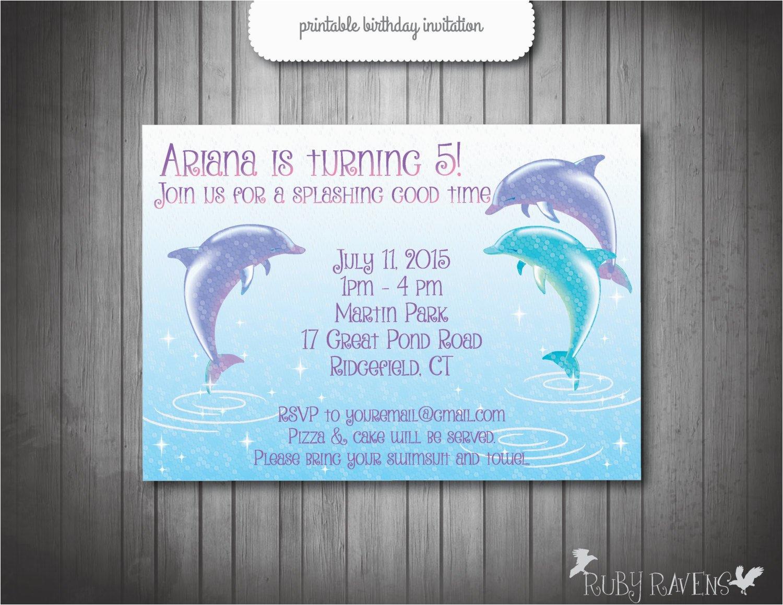 Dolphin Birthday Invitations Invitation Pool Party Swim
