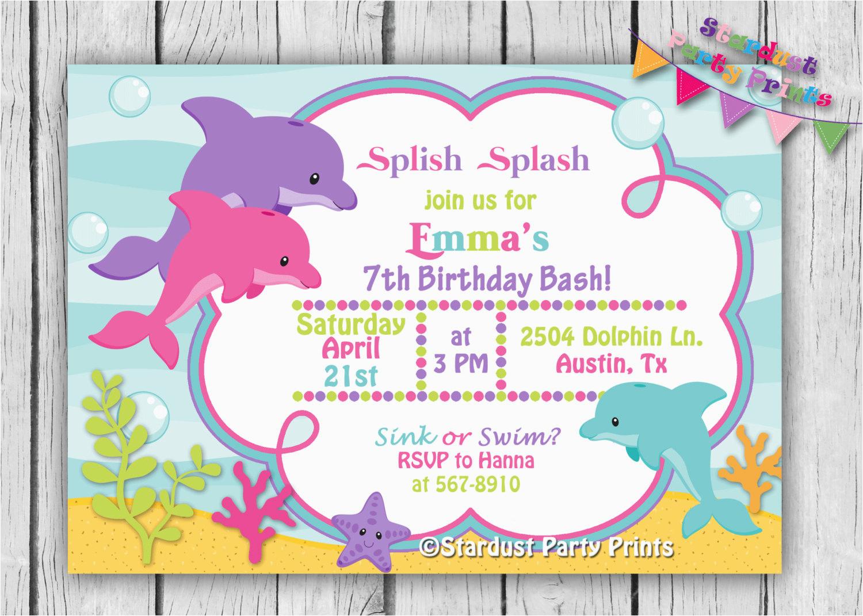 Dolphin Birthday Invitations Printable Invitation By Stardustpartyprints