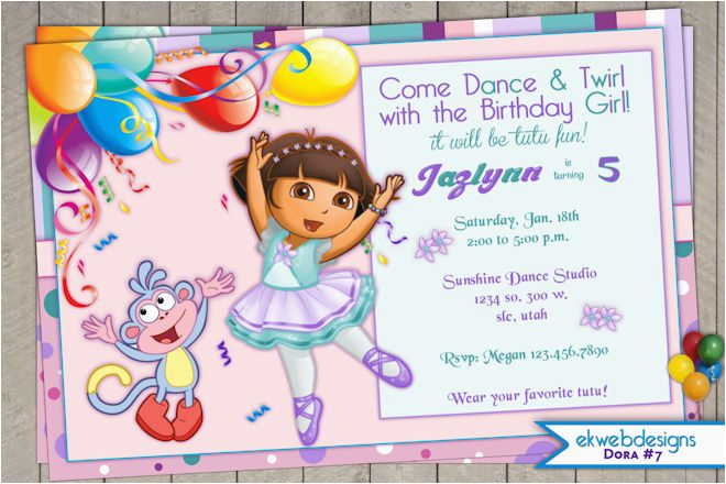 Dora Birthday Cards Free Printable The Explorer Invitation Ballerina