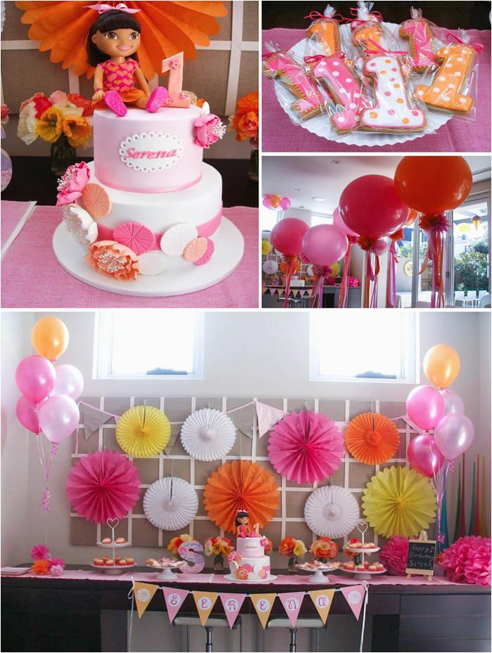 Dora Decorations Birthday Party Kara 39 S Party Ideas Dora the Explorer Modern Girl Birthday