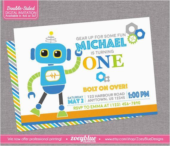 Robot Birthday Invitation Boy Invite
