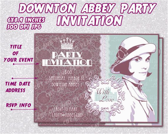items similar to downton abbey party invitation card