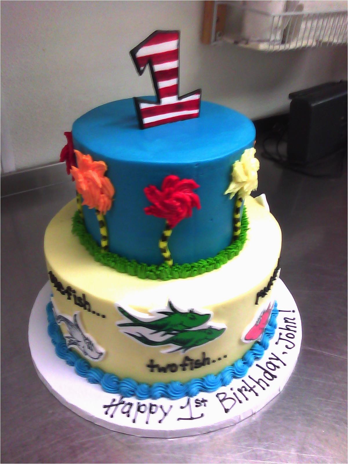 dr seuss 1st birthday cake