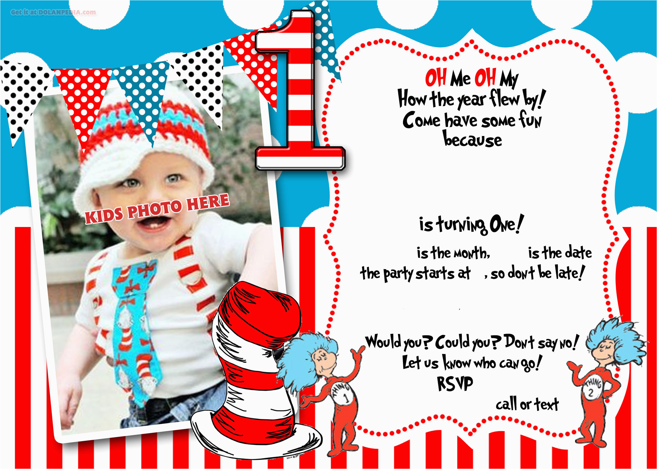 Dr Seuss Birthday Invite Free Printable Dr Seuss 1st Birthday Invitation Template