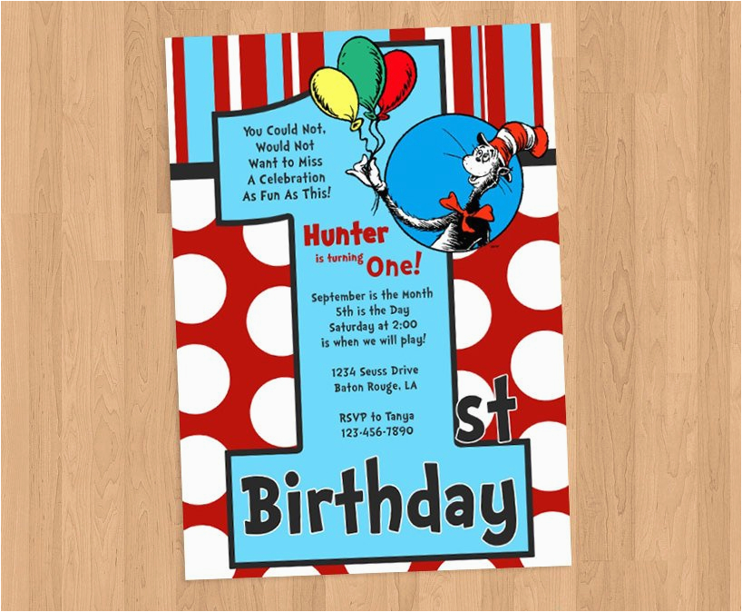 Dr Seuss First Birthday Invitations 1st Invitation Diy Printable