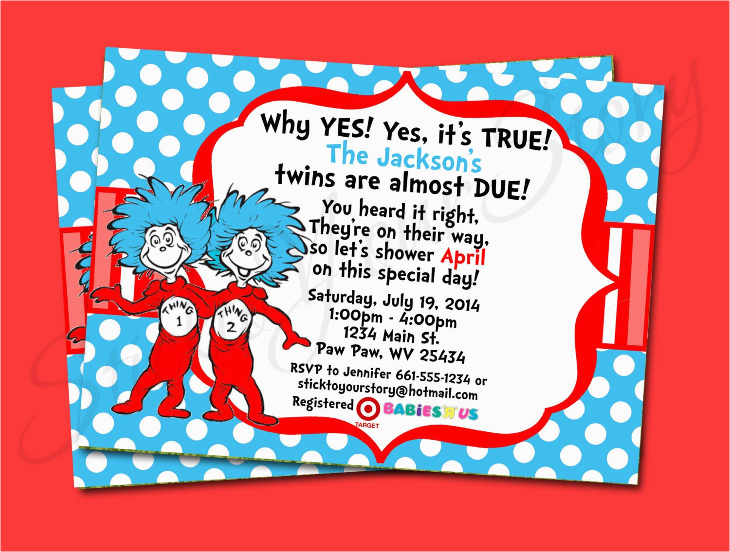 Dr Seuss Twin Birthday Invitations Thing 1 2 Invitation Baby By