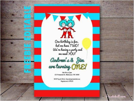 Dr Seuss Twin Birthday Invitations Free Editable Thing 1 2 Invitation Twins