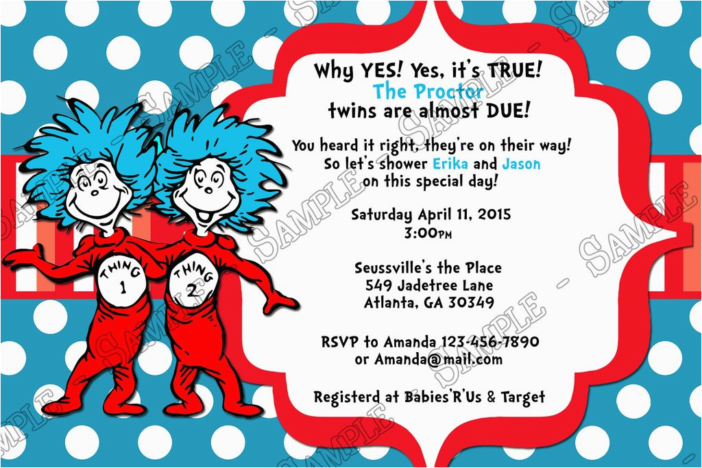 Dr Seuss Twin Birthday Invitations Novel Concept Designs Thing 1 And 2