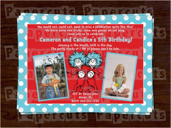 Dr Seuss Twin Birthday Invitations Personalized Dr Seuss Thing 1 and Thing 2 Twins Happy