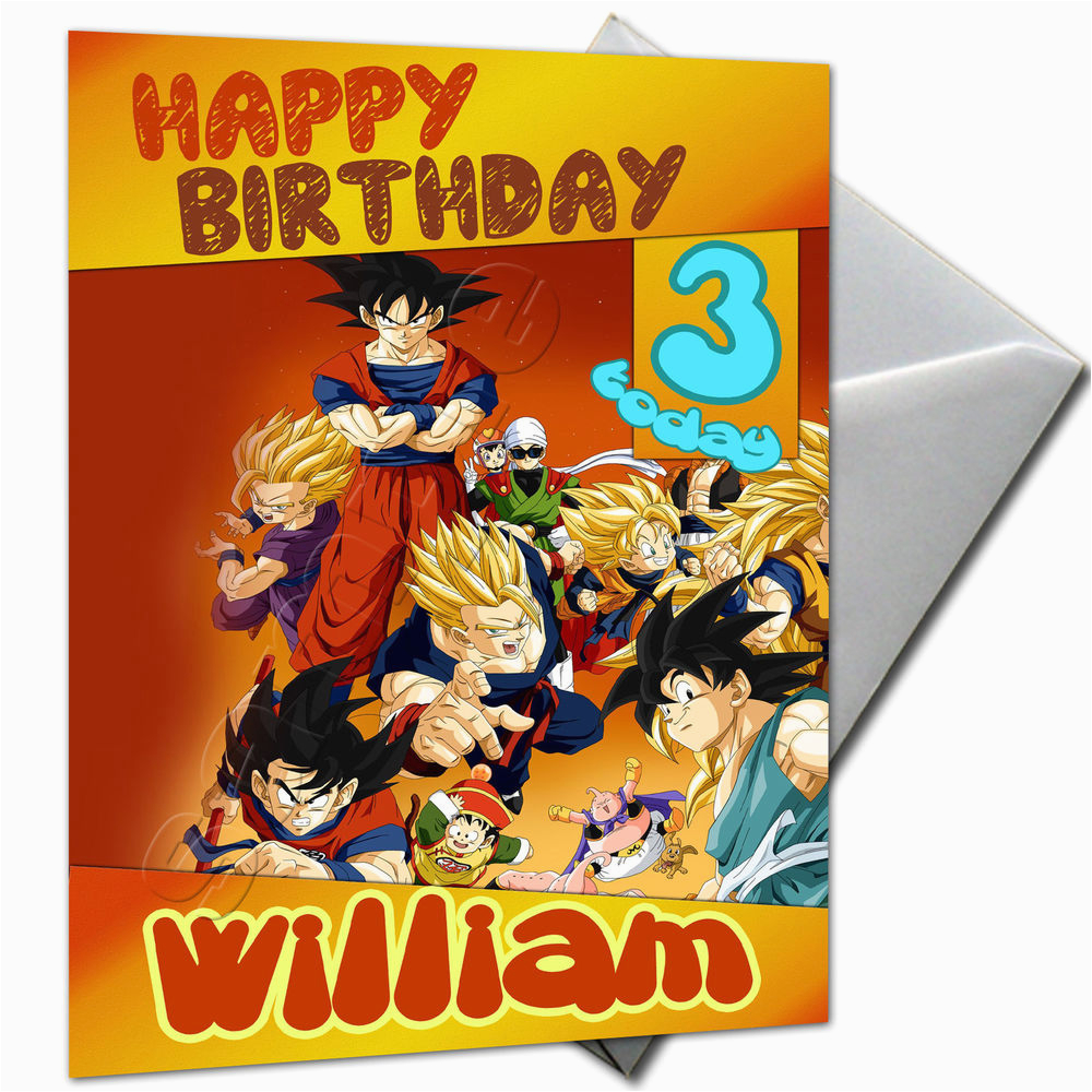 Dragon Ball Z Birthday Card Personalised Large A5