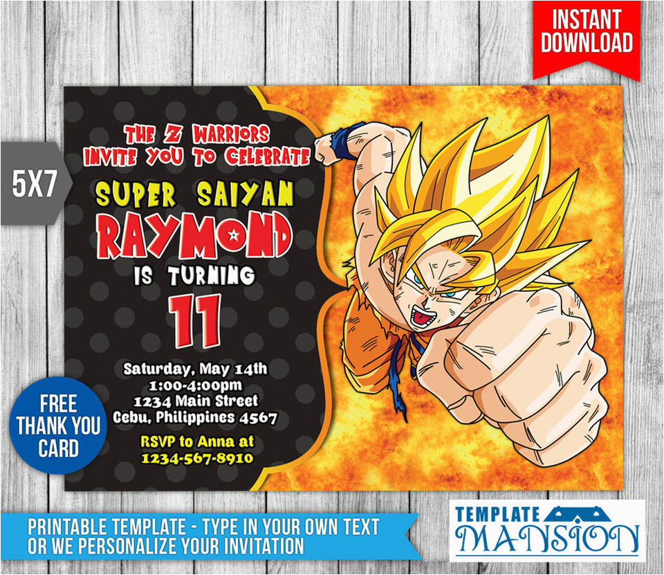 Dragon Ball Z Birthday Invitations Invitation Psd By
