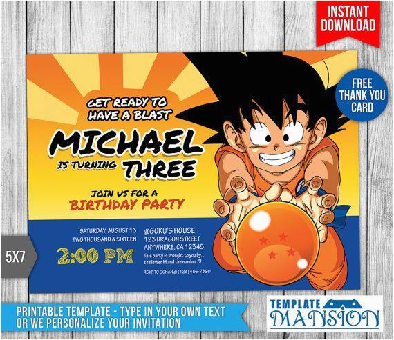 Invitacin Dragn Ball Dragon Ball Z T Ball Birthday