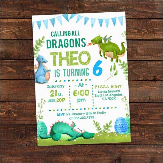 dragon birthday invitation dragon party