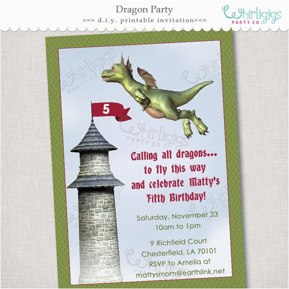 dragon party printable invitation