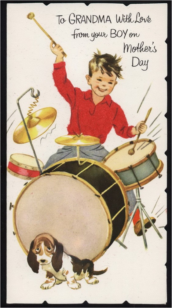 vintage drum set hound dog greeting card